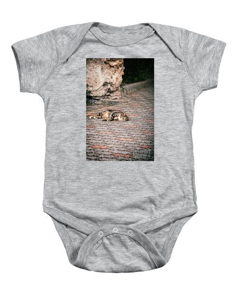 Baby Onesie featuring the photograph Lazy Cat    by Silvia Ganora