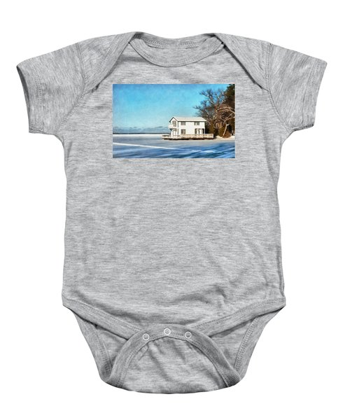 Leacock Boathouse In Winter Baby Onesie