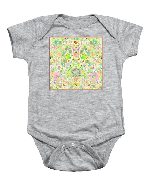 Leaf And Flower And Heart Pattern  Baby Onesie