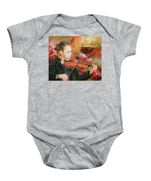 Learning The Violin Baby Onesie