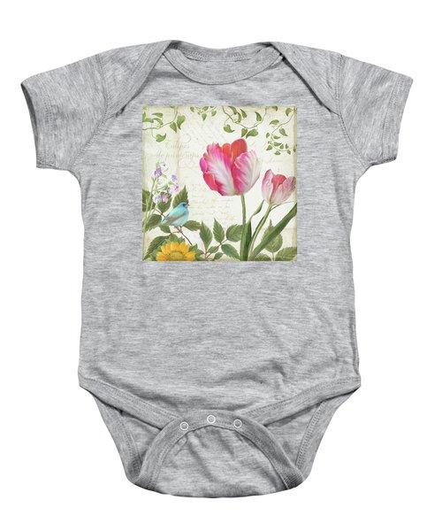 Les Magnifiques Fleurs IIi - Magnificent Garden Flowers Parrot Tulips N Indigo Bunting Songbird Baby Onesie by Audrey Jeanne Roberts