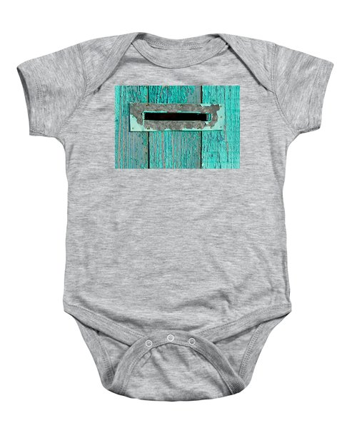 Letter Box On Blue Wood Baby Onesie