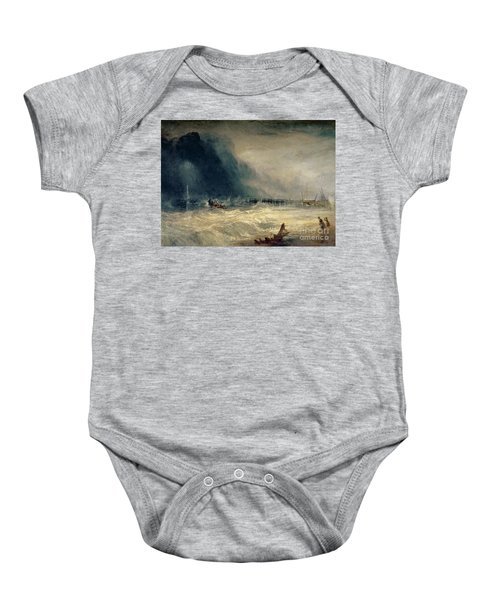Lifeboat And Manby Apparatus Going Off To A Stranded Vessel Making Signal Of Distress Baby Onesie