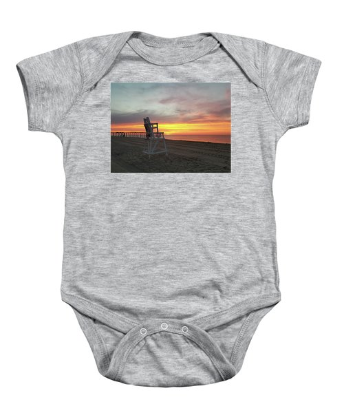 Lifeguard Stand On The Beach At Sunrise Baby Onesie