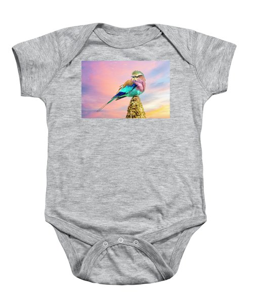 Lilac Breasted Roller At Sunset Baby Onesie