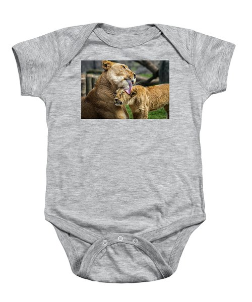 Lion Mother Licking Her Cub Baby Onesie