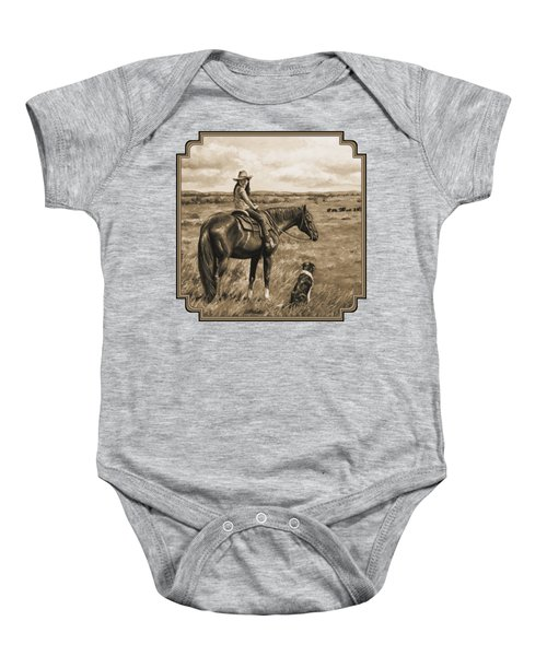 Little Cowgirl On Cattle Horse In Sepia Baby Onesie by Crista Forest