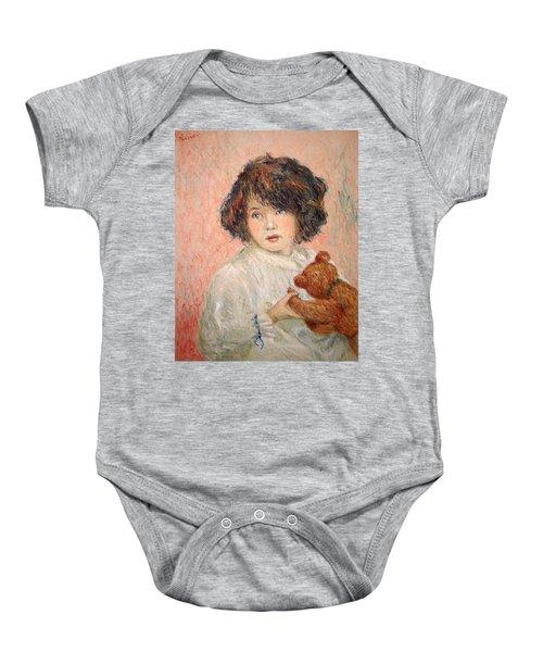 Little Girl With Bear Baby Onesie