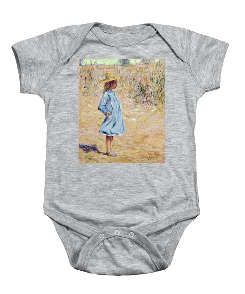 Little Girl With Blue Dress Baby Onesie