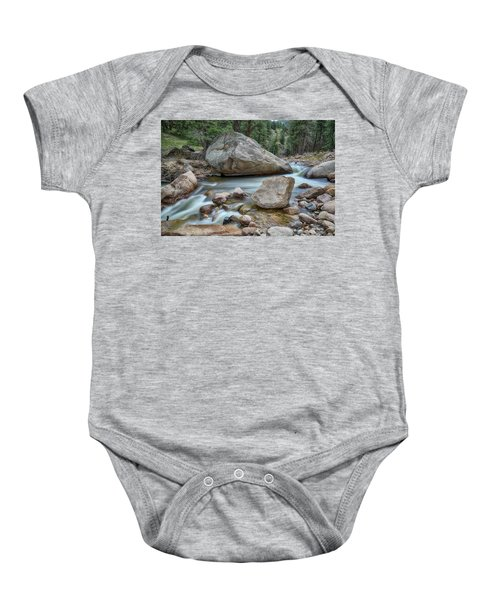Baby Onesie featuring the photograph Little Pine Tree Stream View by James BO Insogna