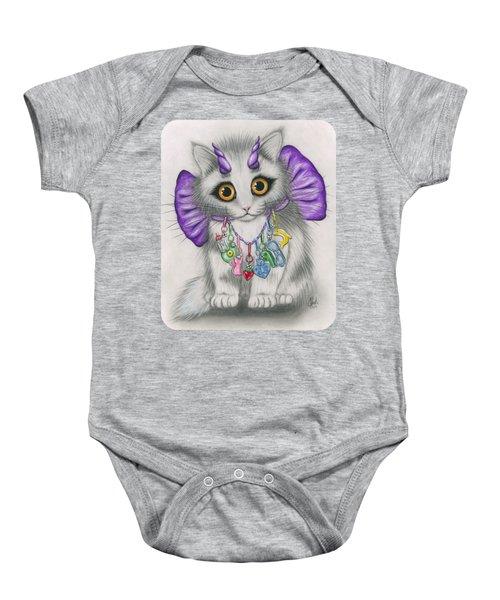 Little Purple Horns - 1980s Cute Devil Kitten Baby Onesie