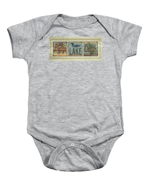Lodge Lake Cabin Sign Baby Onesie