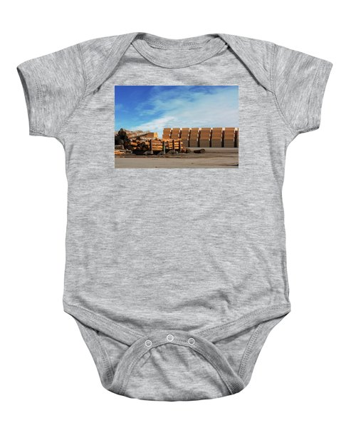 Logs And Plywood At Lumber Mill Baby Onesie