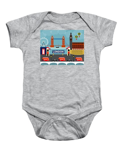 London England Horizontal Scene - Collage Baby Onesie by Karen Young