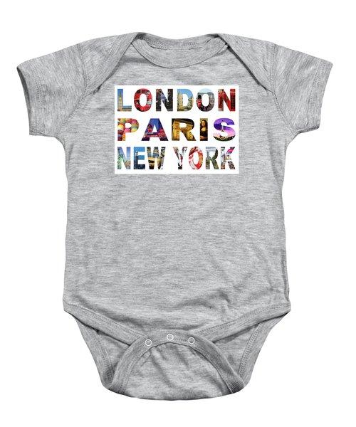 Baby Onesie featuring the digital art London Paris New York, White Background by Adam Spencer