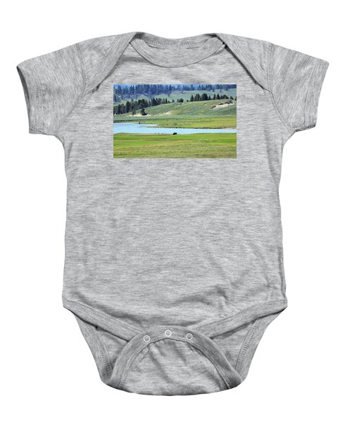 Lone Bison Out On The Prairie Baby Onesie