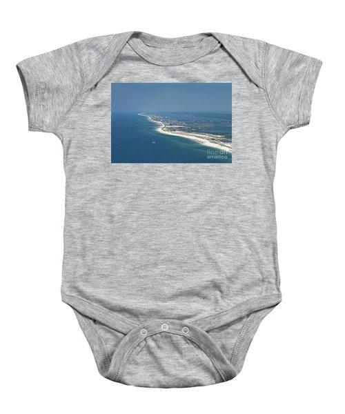 Long, Aerial, Beach View Baby Onesie