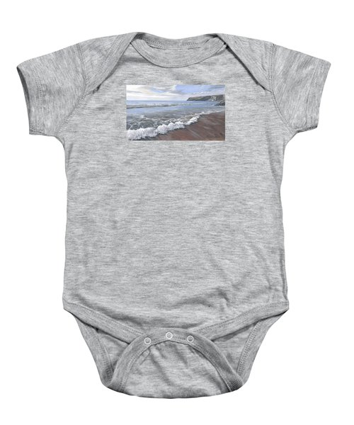 Baby Onesie featuring the painting Long Waves At Trebarwith by Lawrence Dyer