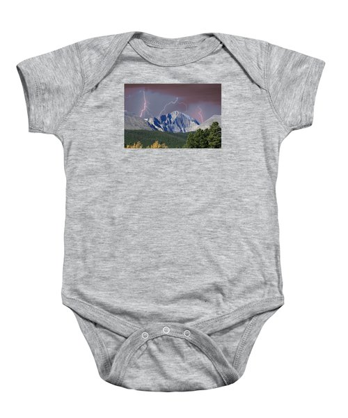 Longs Peak Lightning Storm Fine Art Photography Print Baby Onesie by James BO  Insogna