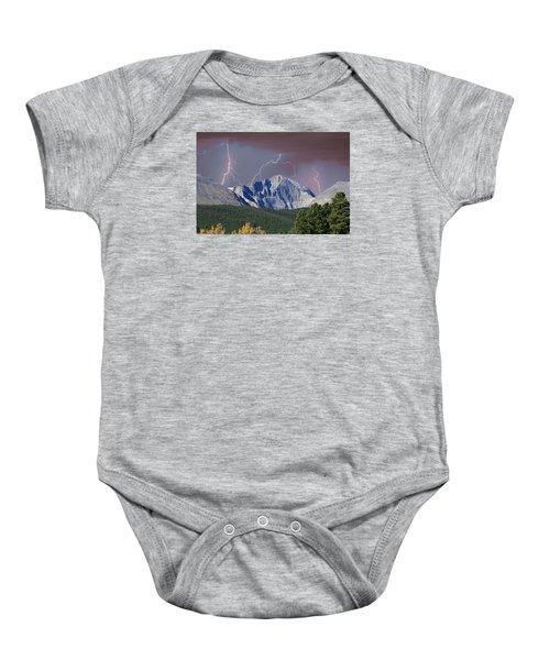 Longs Peak Lightning Storm Fine Art Photography Print Baby Onesie