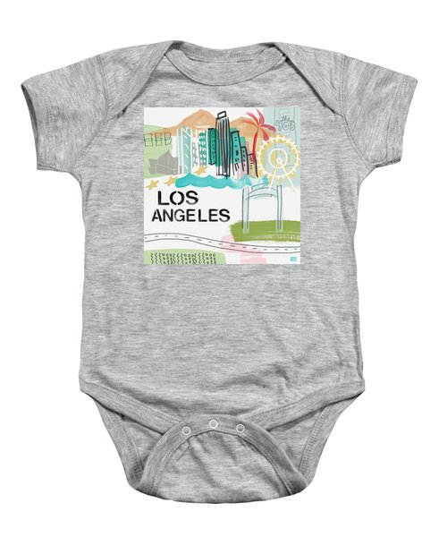 Los Angeles Cityscape- Art By Linda Woods Baby Onesie