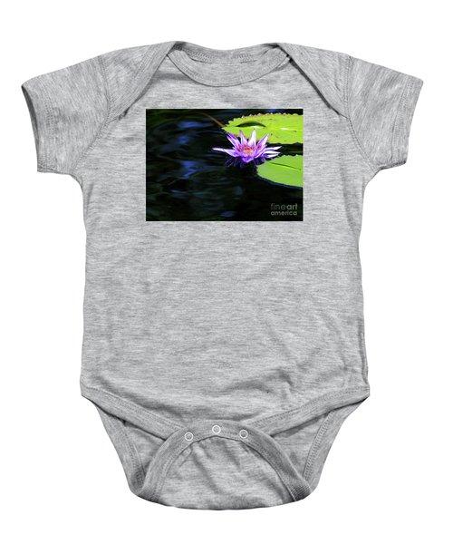 Lotus And Dark Water Refection Baby Onesie