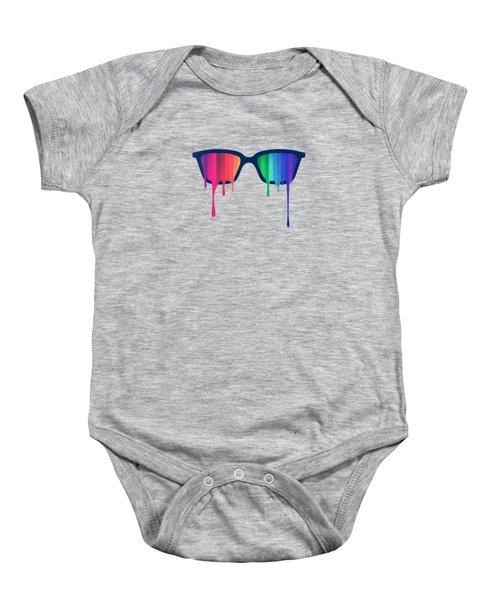 Love Wins Rainbow - Spectrum Pride Hipster Nerd Glasses Baby Onesie by Philipp Rietz