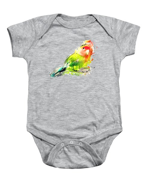 Lovebird Watercolor Painting Baby Onesie by Justyna JBJart