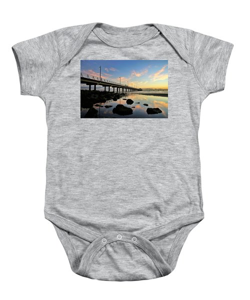 Low Tide Reflections At The Pier  Baby Onesie