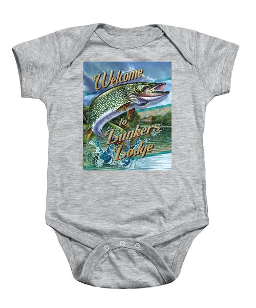 Lunkers Lodge Sign Baby Onesie