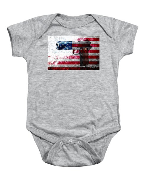 M1911 Colt 45 And American Flag On Distressed Metal Sheet Baby Onesie