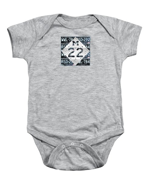 M22 Michigan Highway Symbol Recycled Vintage Great Lakes State License Plate Logo Art Baby Onesie