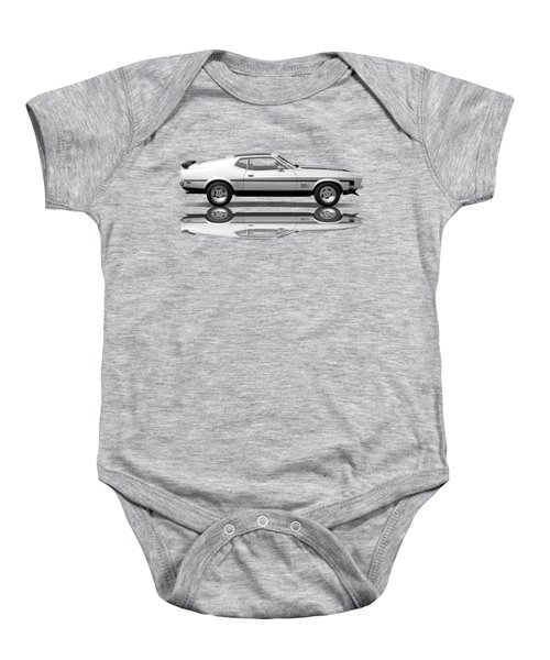 Mach 1 Mustang Reflections In Black And White Baby Onesie