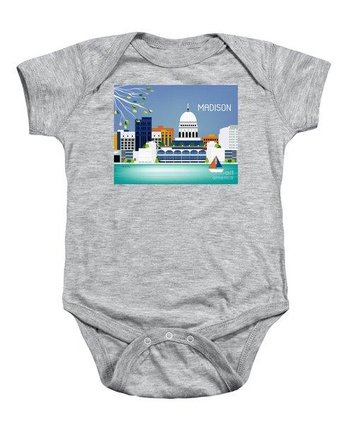 Madison Wisconsin Horizontal Skyline Baby Onesie by Karen Young