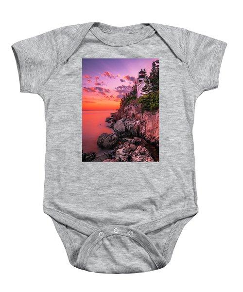 Maine Bass Harbor Lighthouse Sunset Baby Onesie