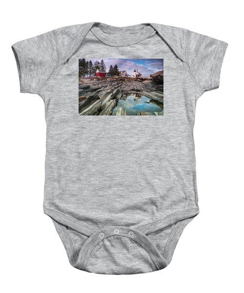 Maine Pemaquid Lighthouse Reflection Baby Onesie