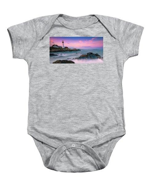Maine Portland Headlight Lighthouse At Sunset Panorama Baby Onesie