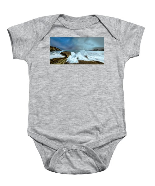 Maine Rocky Coast During Storm At Two Lights Baby Onesie