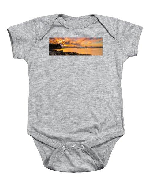 Maine Rocky Coastal Sunset In Penobscot Bay Panorama Baby Onesie