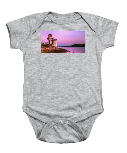 Maine Squirrel Point Lighthouse On Kennebec River Sunset Panorama Baby Onesie