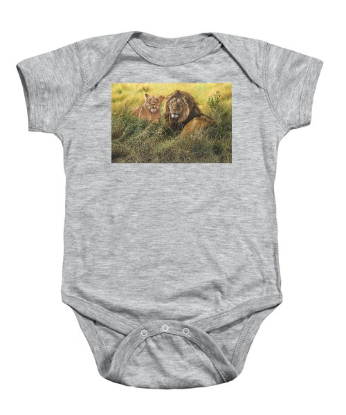 Male And Female Lion Baby Onesie