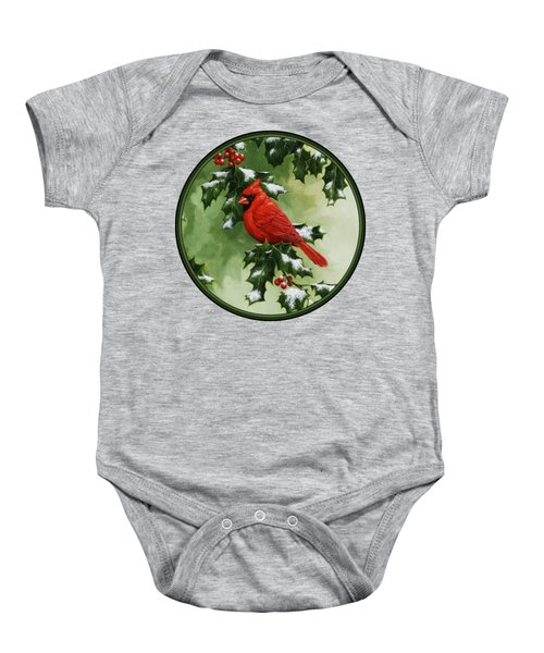 Male Cardinal And Holly Phone Case Baby Onesie
