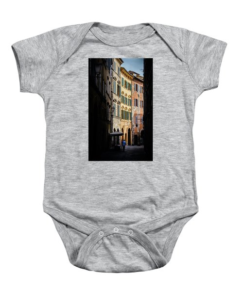 Man Walking Alone In Small Street In Siena, Tuscany, Italy Baby Onesie