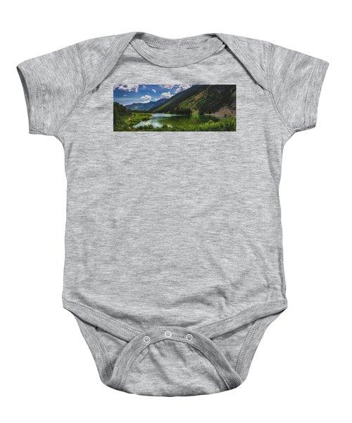 Maroon Lake Panorama Baby Onesie
