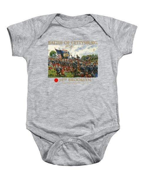 Men Of Brooklyn - The 14th Brooklyn 14th N.y.s.m. Charge On The Railrad Cut - Battle Of Gettysburg Baby Onesie