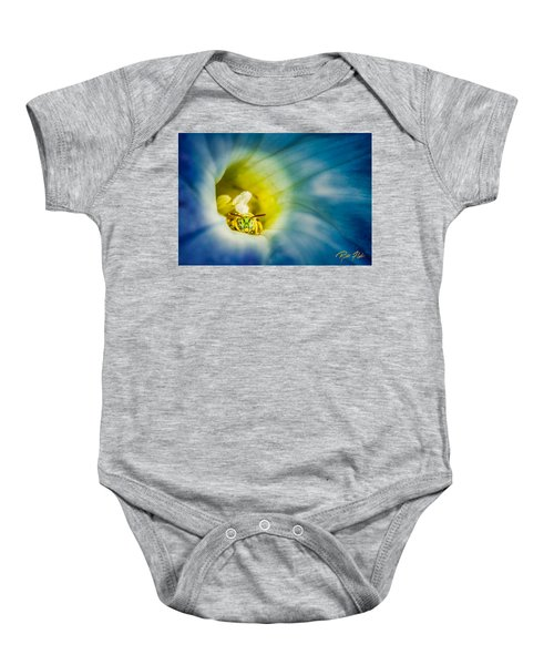 Metallic Green Bee In Blue Morning Glory Baby Onesie