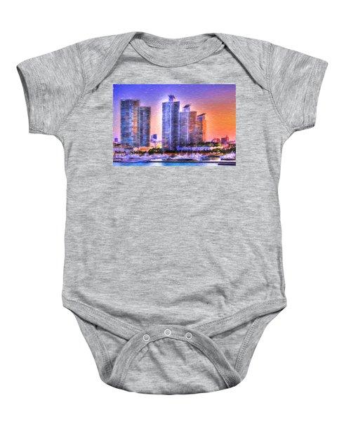 Miami Skyline Sunrise Baby Onesie