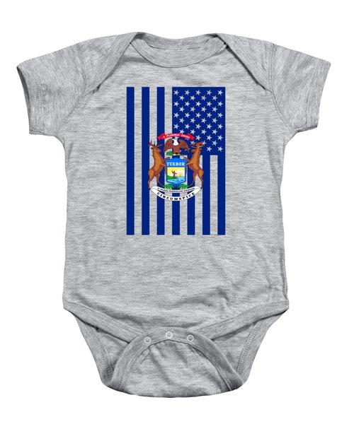 Michigan State Flag Graphic Usa Styling Baby Onesie by Garaga Designs