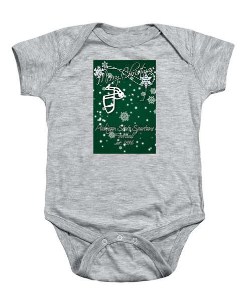 Michigan State Spartans Christmas Card Baby Onesie by Joe Hamilton