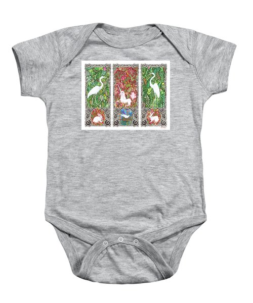 Millefleurs Triptych With Unicorn, Cranes, Rabbits And Dove Baby Onesie
